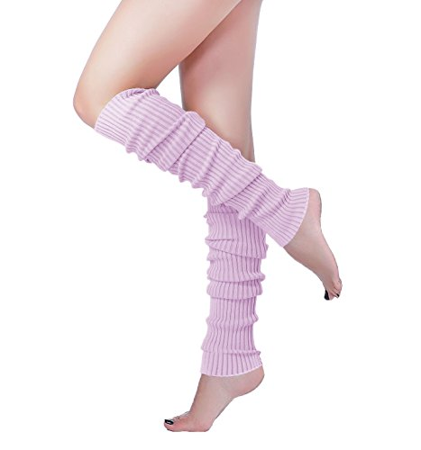 Long Leg Warmer, V28 Women's Men 80s Party Ribbed Knit Dance Sports (61Ligpur) ()
