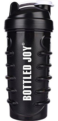 BOTTLED JOY Protein Shaker Bottle, BPA free Mixer Shake Sports Drinking Water Bottles, Shaker Cups For Gym 28oz 800ml (Black)