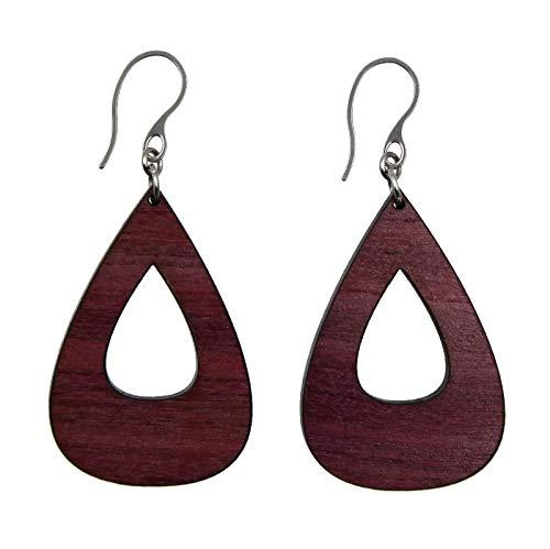 - Purple Heart Teardrop Wood Dangle Earrings for Women by Arthlin