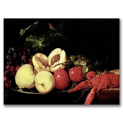 Kitchen Still Life - Still Life of Fruit with a Lobster by Jan Davidsz de Heem, 35x47-Inch Canvas Wall Art