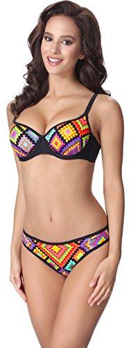 aQuarilla Bikini Conjunto para Mujer AQ136 Negro/Multicolor