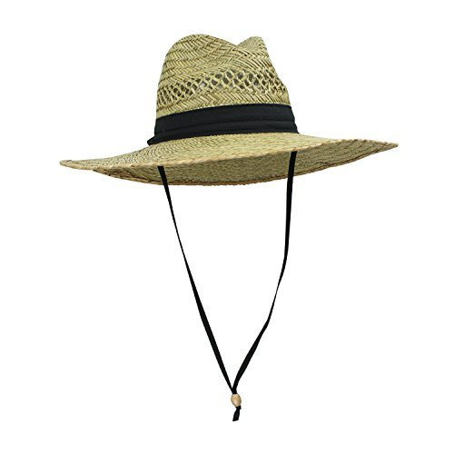 Straw Sun Hat - SUN & FUN Men's Straw Outback Lifeguard Sun Hat with Wide Brim, Natural/ Black, One Size / Adjustable