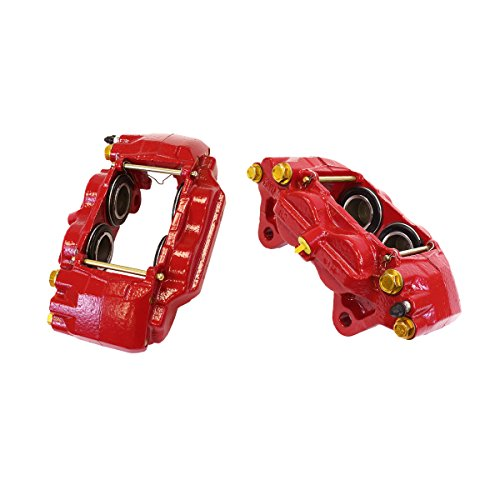 CCK02963 [2] FRONT Performance Grade Red Powder Coated Semi-Loaded Caliper Assembly Pair Set