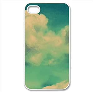 Clouds Green Watercolor style Cover iPhone 4 and 4S Case (Sun & Sky Watercolor style Cover iPhone 4 and 4S Case)