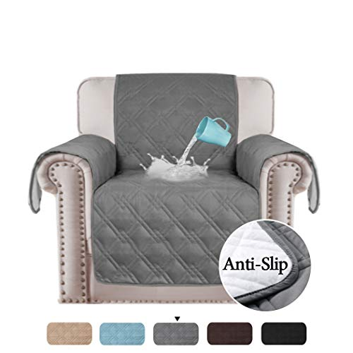 - 100% Waterproof Original Slip Resistant Chair Slipcover Protector Furniture Cover Pets Friendly Quilted Furniture Protector Premium Cotton Like Sofa Chair Covers (Chair: Gray) - 75