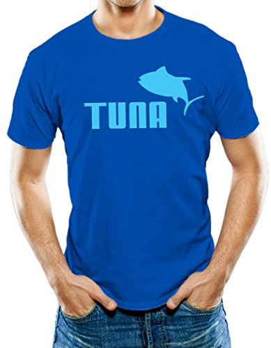 Universal Apparel Men's Tuna T-Shirt Large Royal Blue - Exclusive Tuna Fish