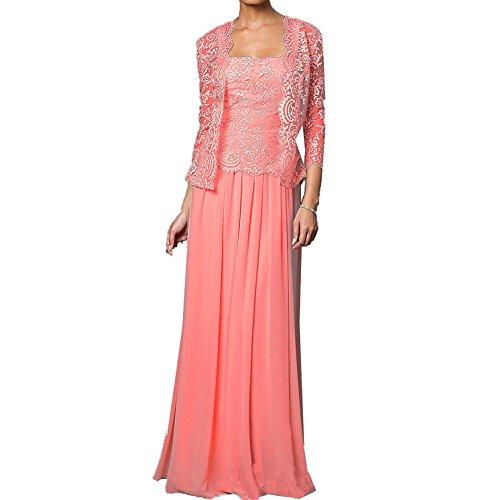 Koralle Jacken mit Chiffon formale Kleider der Kleid HWAN Spitze Wraps Mutter lange Braut 7xwFaxUvq