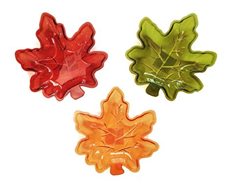 Autumn Fall Leaves Plastic Serving Trays, 3-pc Set