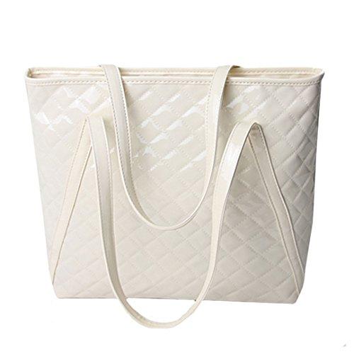 Buddy Top Handle Satchel Women Fashion Plaid Patent Leather Shoulder Bag Large Handbags Tote Single Bags ()