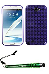 FoxyCase(TM) FREE stylus AND SAMSUNG Galaxy Note II (T889 I605 N7100) Purple Argyle Candy Skin Cover cas couverture