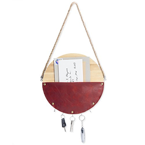 MyGift Wall-Hanging Wood & Faux Leather Mail Pouch with 5 Key Hooks by MyGift