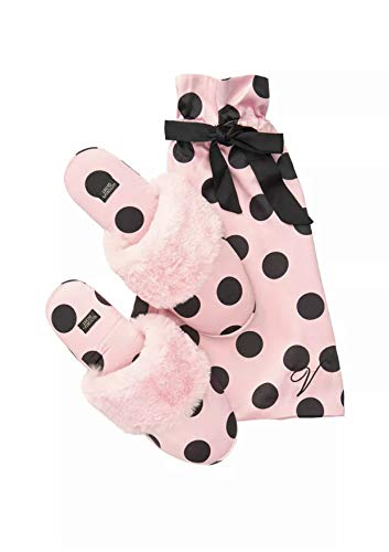 Victoria's Secret Signature Satin Slippers Pink Black Polka Dot with Faux Fur Large 9-10