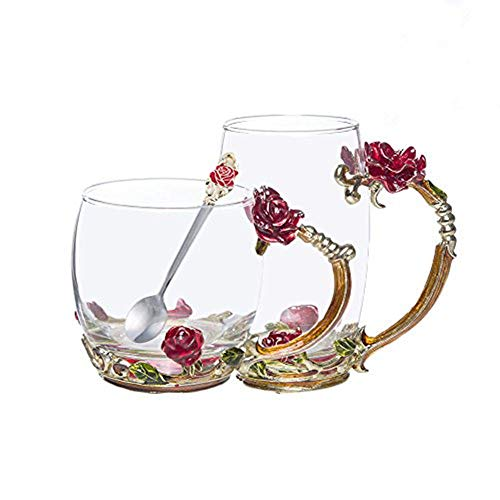 (FENHAR Luxury Upgrade Enamel Glass Of Rose Bowl Heat-Resistant Crystal Glass Coffee Cup Couples Creative Gift Flower Tea Cup(Tall mug))