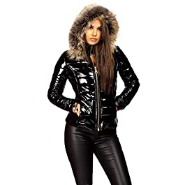 Lexi Fashion Womens Wet Look Vinyl PVC PU Faux Leather Shiny Puffer Bubble Jacket