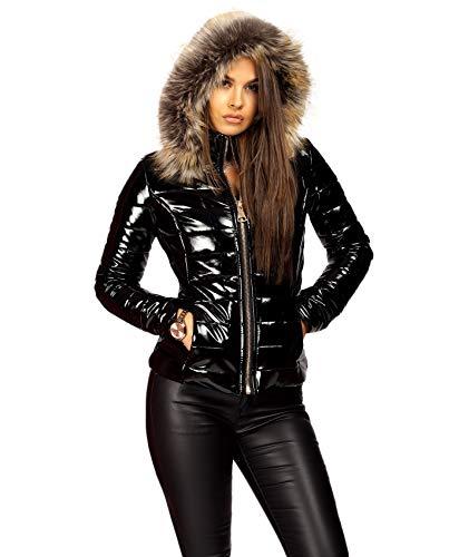Lexi Fashion Womens Wet Look Vinyl PVC PU Faux Leather Shiny Puffer Bubble Jacket