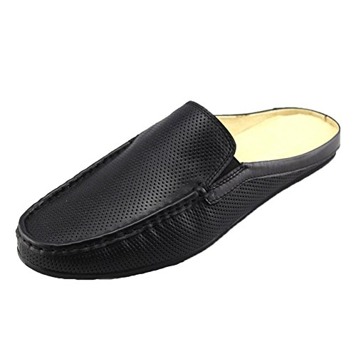 Loafers Black01 Casual Santimon Shoes Clog Breathable Punching on Slip Mens Leather Slippers Mules FFAqx7vwZP
