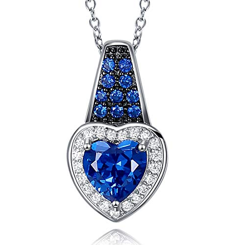 Caperci Sterling Silver Lab-Created Gemstone Heart Blue Sapphire Halo Pendant Necklace for Women, ()