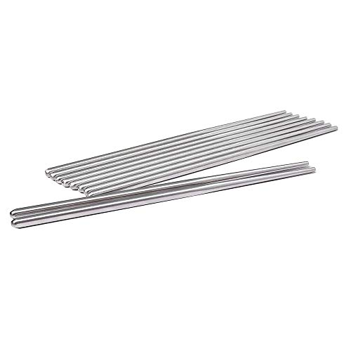 Sweton Metal Chopsticks Stainless Steel Non-skid Design Squared Chopsticks(6pairs) by Sweton