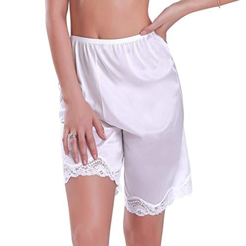 Women's Premium Nylon Underwear Nightwear Short Pants Bloomer Lady Slip Pants Trim Sleep Bottoms(White - Sleeved Bodysuit Opaque Long