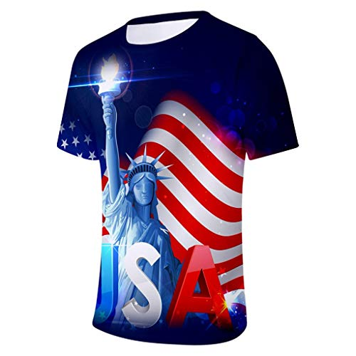 YOCheerful Men T-Shirt Muscle Statue of Liberty Print American Patriotic Tee July 4th Tops(Blue, 3XL)]()