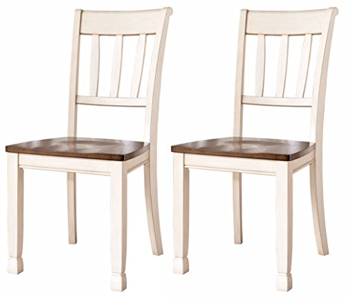 nature Design - Whitesburg Dining Room Side Chair Set - Vintage Casual - Set of 2 - Two Tone (Ladder Back Desk Chair)