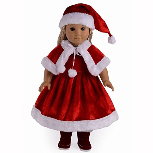 TianBo 3pc Christmas Red Color Including Hat Shawl Dresses Outsuits Fits 18 Inch American Girl Dolls, ZKB902 ()