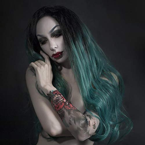 Pure Lace Wigs Sexy Green Lace Long Inner