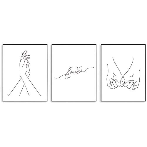Minimalist Line Drawing Poster Love Theme Art Printing Wall Art Print For Living Room Bedroom Dining Room (8x10 Inches Unframed)