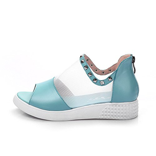 Heels Low Material AmoonyFashion Zipper Open Blue Toe Sandals Soft Solid Womens S5xPE