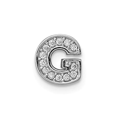 (925 Sterling Silver Cubic Zirconia Cz Letter G Slide Pendant Charm Necklace Chain Initial Fine Jewelry Gifts For Women For)