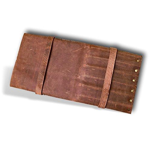 Large Handmade Leather Knife Roll   11 Pocket Knife Bag, Chef Knife Roll, Double Buckle Locking Knife Case   Kauri Design by Kauri (Image #6)