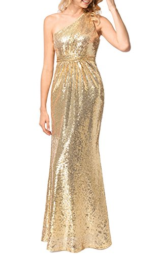 Lily Wedding Womens One Shoulder Sequins Prom Bridesmaid Dresses 2018 Long Evening Formal Party Ball Gowns FED010 Size 12 Gold