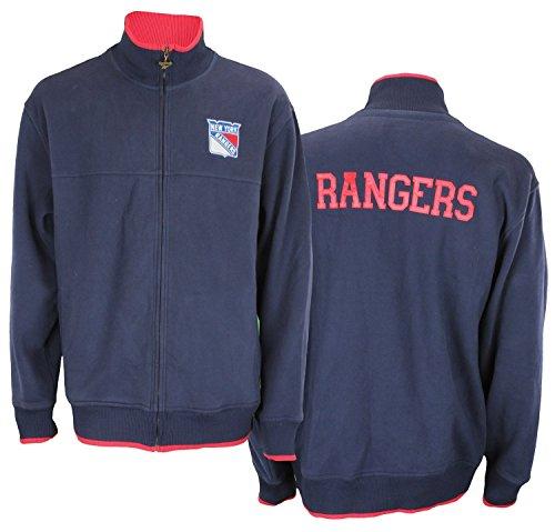 (New York Rangers NHL Mens MVP Fleece Track Jacket, Navy (X-Large))