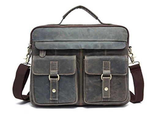 ZXH cuero de los hombres bolsa de cuero loco caballo retro para hombre bandolera primera capa de cuero de los hombres bolso del bolso del mensajero , D A