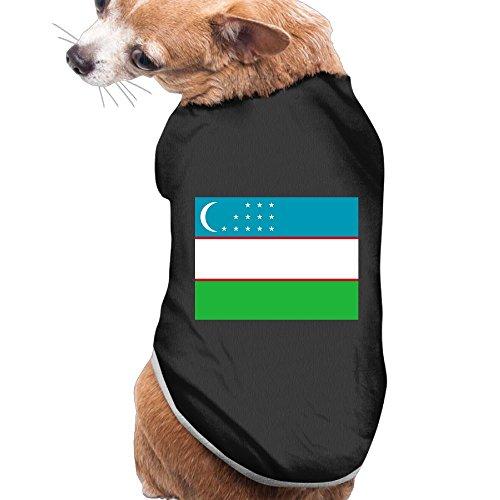 - Shenghong Lin Flag Of Uzbekistan Summer Pet Clothes Pet T-Shirt Dog Cat Top Vest Clothes Puppy Costumes Pet Coats Black