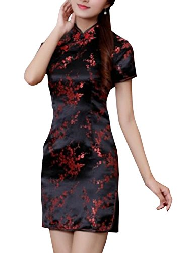 Lapiness Women's Mini Chinese Dress Cheongsam Floral Sexy Evening Party (Black, XXXL)