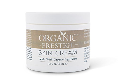 Luxury Organic Dry Skin Repair CREAM & Natural Facial Moisturizer (4 oz) Rosacea, Eczema, Psoriasis, Rashes, Redness, Aloe Vera, Vegan, Gluten Free, Face and Body, Smooth Legs by Organic Prestige