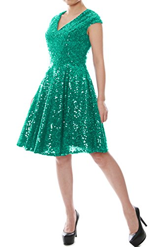 Women Neck Bridesmaid Formal MACloth Gown Sleeve Teal Sequin Cap V Short Dress Party dAApwIxq