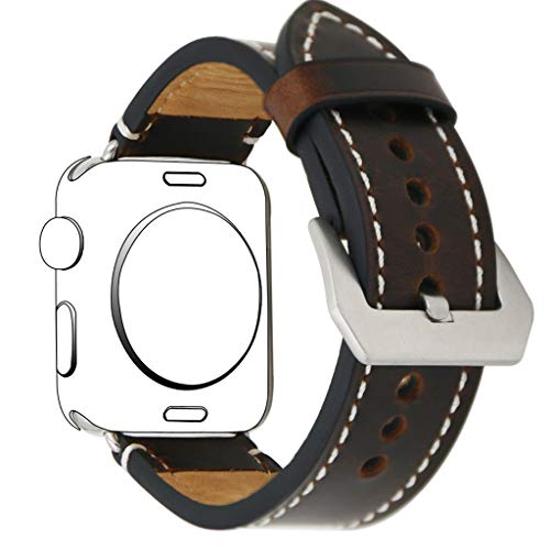 Sodagreen Replacement Band Compatible for Apple Watch Series 1/2/3/4 44mm 42mm, Single Tour Leather Strap Loop Bracelet Band, Adjustable Wristband Bangle with Metal Buckle, for Women Men (Coffee)