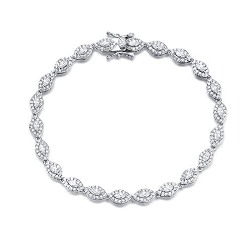 FANCIME White Gold Plated 925 Sterling Silver Marquise Cut Cubic Zirconia CZ Wedding Bridal Prom Tennis Bracelet For Women Girls, - Marquise Bracelet 14k