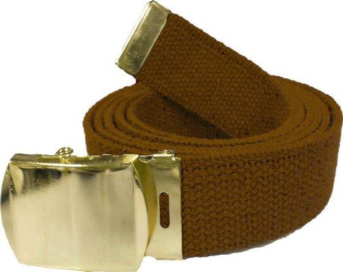 "100% Cotton Military 54"" Web Belt (Coyote Belt w/Gold Buckle)"