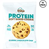 Protein Cookies - 16 Grams of Whey PROTEIN SNACKS, Gluten Free, Non-GMO and Great Source of Fiber (Classic Chocolate Chip Cookie, 12 Count, 2.82 oz)