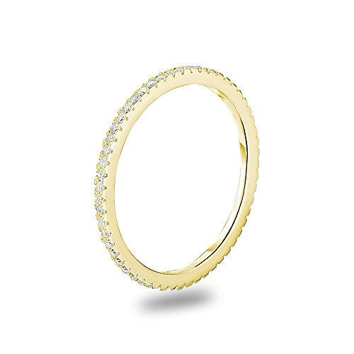 (14k Gold Plated 925 Sterling Silver Cubic Zirconia Stackable Ring Wedding Eternity Band, Size)