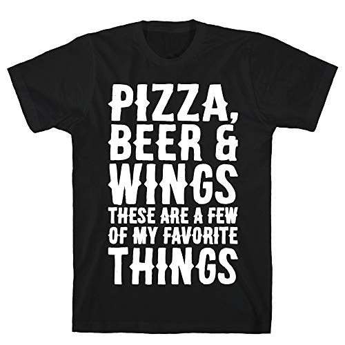 LookHUMAN Pizza Beer & Wings White Font XL Black Men's Cotton Tee