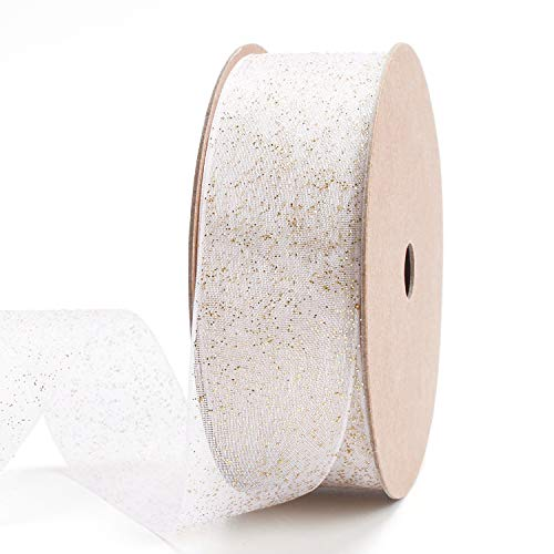 LaRibbons 1 inch White Sheer Organza Ribbon with Gold Glitter Metallic for Decoration, Craft, Gift Wrappping - 10 Yard/Spool