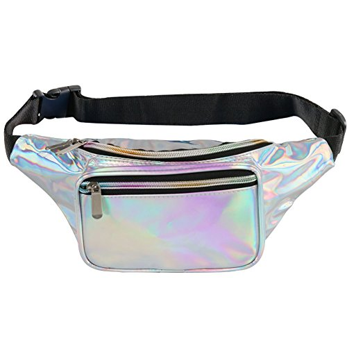 Fotociti Holographic Fanny Pack for Women and Men - Laser Metallic Waist Bag for Rave, Festival, Travel, Running (Holographic Silver)