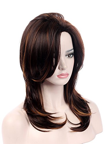 Sotica Women's Wavy Curly Brown Highlights Wigs with Natural Layers Shoulder Length Yaki Synthetic Wigs with Hair Bangs Full Hair Wigs for Women