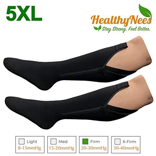 HealthyNees Closed Toe Extra Big Wide Calf Shin Plus Size 20-30 mmHg Compression Grade Leg Length Swelling Circulation Women Men Socks (Black with Zipper, Extra Wide Calf 5XL)