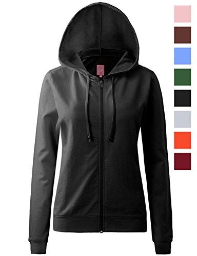 REGNA X womens long sleeve cotton lightweight full zip hoodie Black 2XL