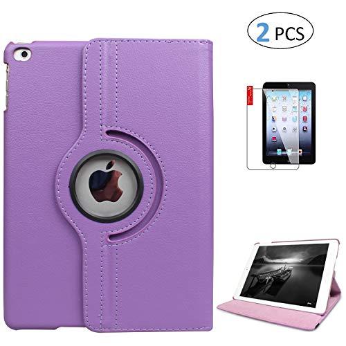 iPad 5th 6th Generation Case with Bonus Screen Protector - iPad 9.7 inch Air1 2018 2017 Cover - Shockproof, 360 Degree Rotating Stand, Auto Sleep Wake (Light Purple)